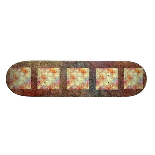 Dirty Old Brown Splotchy Yellow Blocks Skateboard