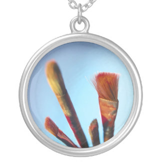 Dirty Old Paintbrushes Silver Plated Necklace