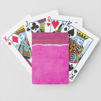 Dirty ripped pink paper bicycle playing cards