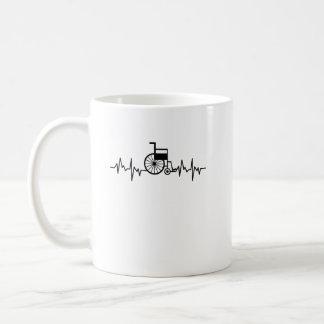 Disability Awareness Gift Wheelchair Heartbeat Coffee Mug