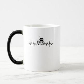 Disability Awareness Gift Wheelchair Heartbeat Magic Mug