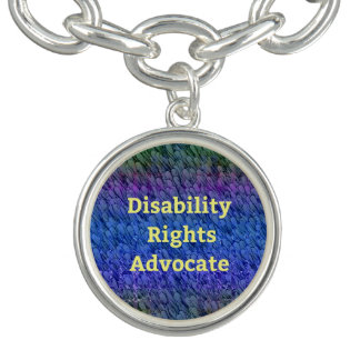 Disability Rights Political Advocate Buttons Charm Bracelet