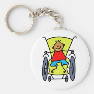 Disabled Boy Basic Round Button Keychain