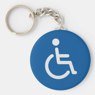 Disabled sign basic round button keychain