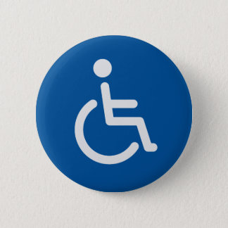 Disabled sign or symbol with man in wheelchair 2 inch round button