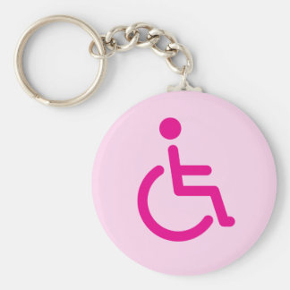 Disabled symbol basic round button keychain