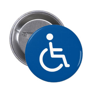 Disabled symbol or blue and white handicap sign 2 inch round button