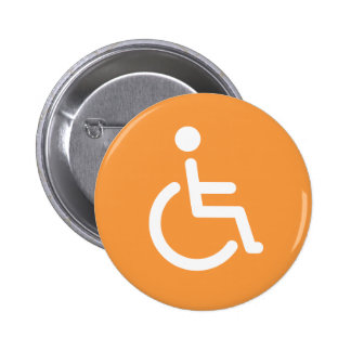 Disabled symbol or orange and white handicap sign 2 inch round button