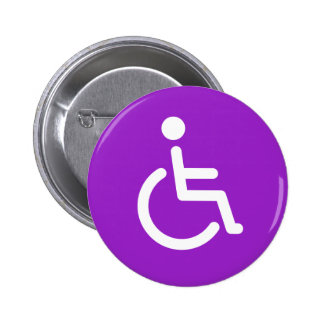 Disabled symbol or purple and white handicap sign 2 inch round button