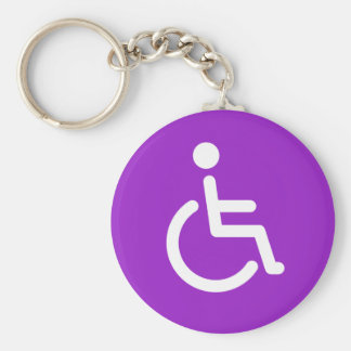 Disabled symbol or purple handicap sign for girls basic round button keychain