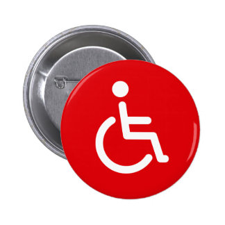 Disabled symbol or red and white handicap sign 2 inch round button