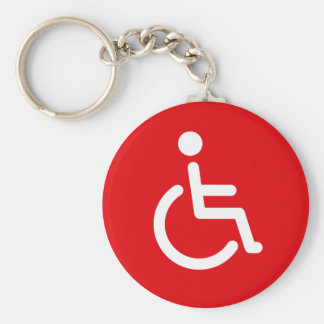 Disabled symbol or red handicap sign basic round button keychain