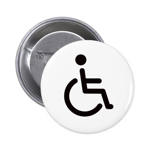 Disabled symbol or white and black handicap sign button