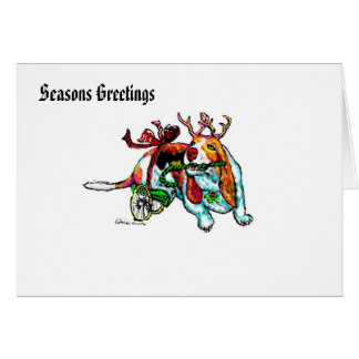 Disabled Xmas Basset Hound Greetings Card