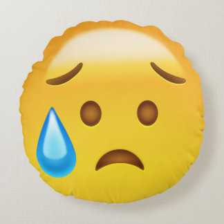 Disappointed but Relieved Face Emoji Round Pillow