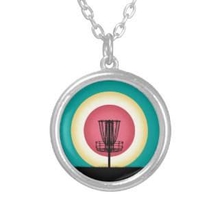 Disc Golf Basket Silhouette Round Pendant Necklace