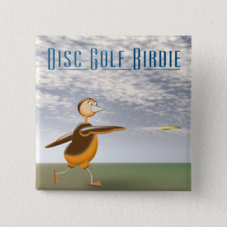 Disc Golf Birdie 2 Inch Square Button