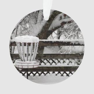 Disc Golf Goal Post in Snow