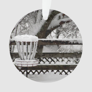 Disc Golf Goal Post in Snow Ornament