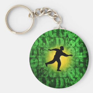 Disc Golfer Basic Round Button Keychain