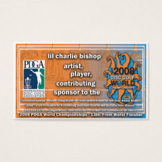 disc golfer Craig Prime's  WORLDS 2008 debut Business Card