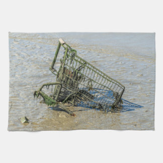 Discarded shopping trolley kitchen towel