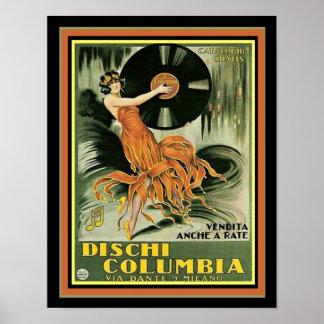 Dischi Columbia Vintage Ad Print 11 x 14
