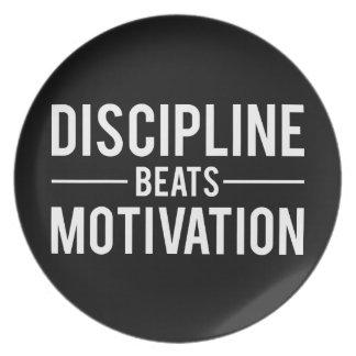 Discipline Beats Motivation - Inspirational Plate