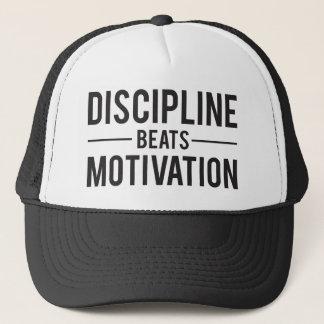 Discipline Beats Motivation - Inspirational Trucker Hat