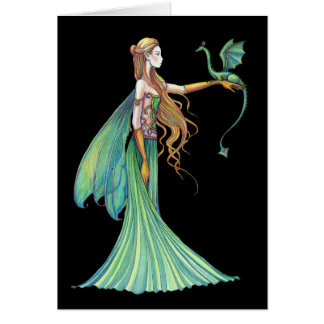 Discipline Green Fairy Dragon by Molly Harrison Card