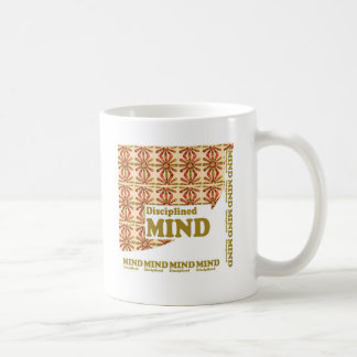 DISCIPLINED MIND :MOTIVATIONAL SCRIPT WORDS COFFEE MUGS
