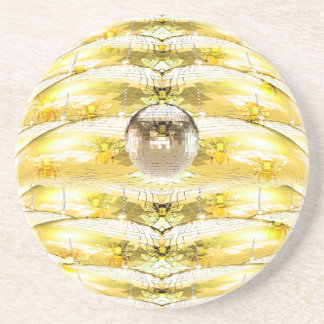 Disco Ball Bee Hive Pattern Coaster