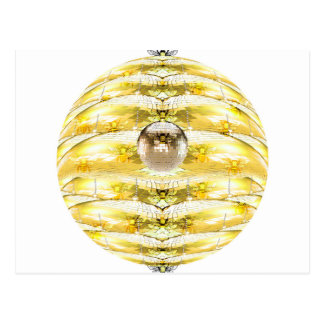 Disco Ball Bee Hive Pattern Postcard