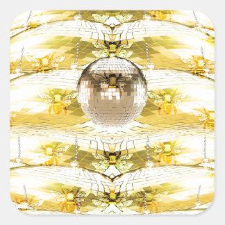 Disco Ball Bee Hive Pattern Square Sticker