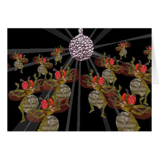 Disco Ball Dancing Fruit Flies Card