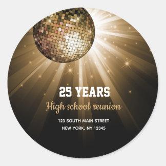 Disco ball gold classic round sticker