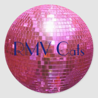 disco ball pink, RMV Cats Classic Round Sticker