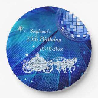 Disco Ball, Princess Coach & Horses 25th Birthday Paper Plate