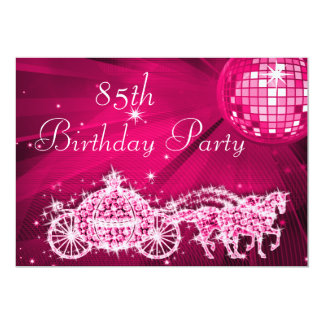 Disco Ball, Princess Coach & Horses 85th Birthday Card