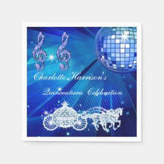 Disco Ball, Princess Coach & Horses Quinceañera Paper Napkins