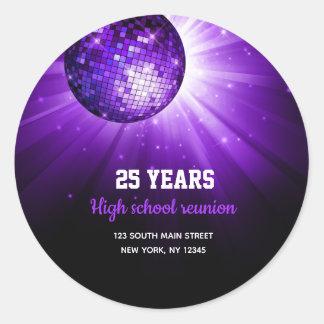 Disco ball purple classic round sticker
