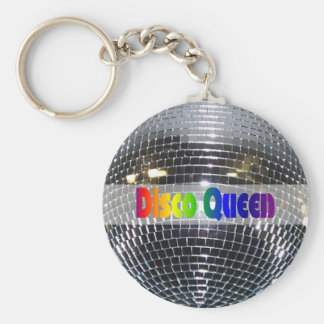 Disco Ball Shiny Silver   Disco Queen Retro 80s Basic Round Button Keychain