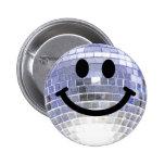 Disco Ball Smiley Pinback Buttons