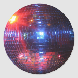 Disco ball with laser beams classic round sticker