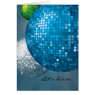 Disco Balls Blue New Year Party Card