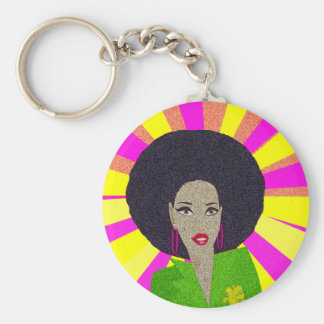 Disco Basic Round Button Keychain
