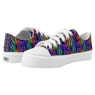 DISCO CLUB NEON LIGHTS PARTY mosaic waves Low-Top Sneakers
