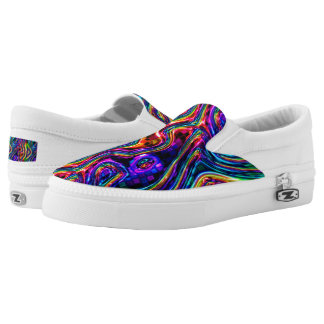 DISCO CLUB NEON LIGHTS PARTY mosaic waves Slip-On Sneakers
