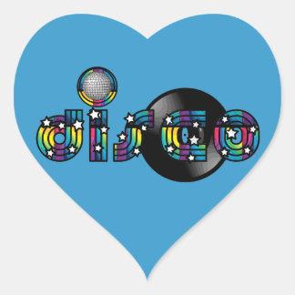 Disco Dancing Mirrored Ball and Vinyl Record Heart Sticker