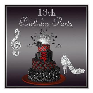 """Disco Diva Cake, Silver Heels 18th Birthday 5.25"""" Square Invitation Card"""